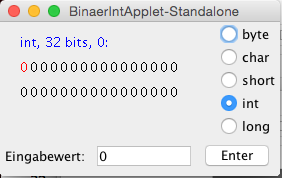 Screen shot BinaerIntApplet